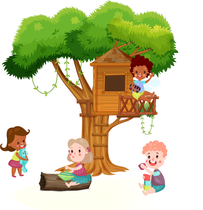 kids playing on the tree
